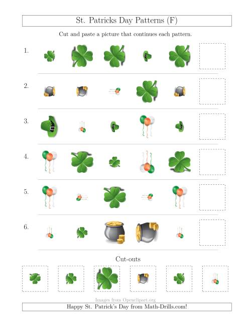 The St. Patrick's Day Picture Patterns with Shape, Size and Rotation Attributes (F) Math Worksheet