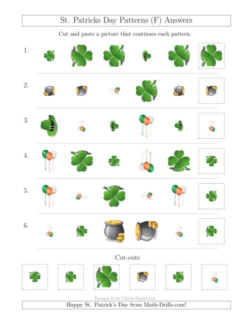 The St. Patrick's Day Picture Patterns with Shape, Size and Rotation Attributes (F) Math Worksheet Page 2