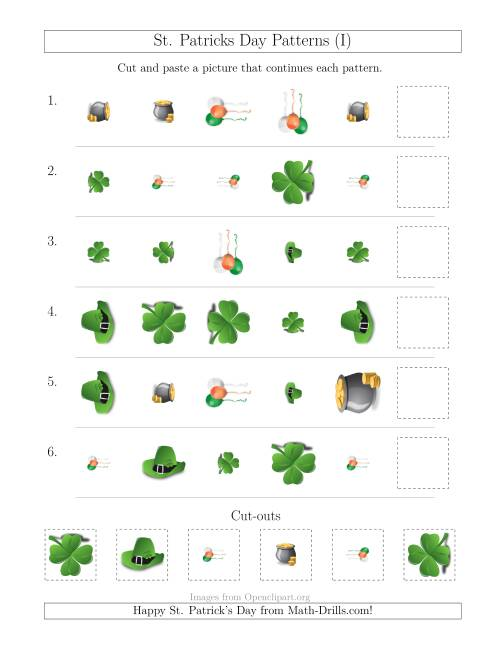 The St. Patrick's Day Picture Patterns with Shape, Size and Rotation Attributes (I) Math Worksheet