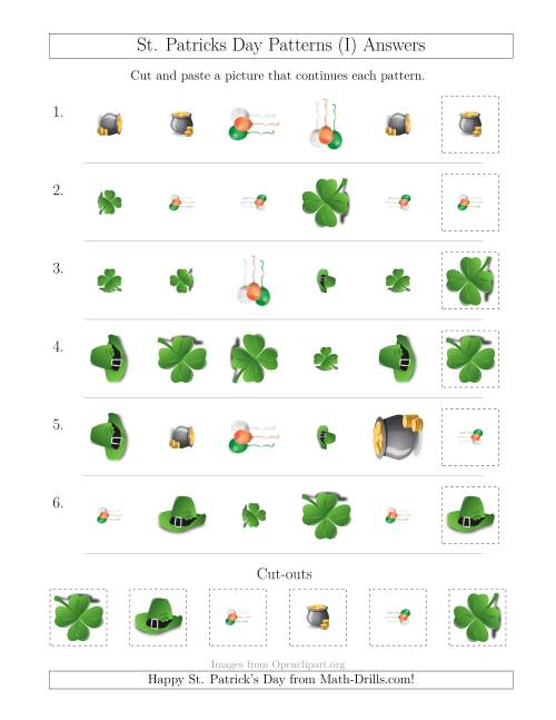 The St. Patrick's Day Picture Patterns with Shape, Size and Rotation Attributes (I) Math Worksheet Page 2