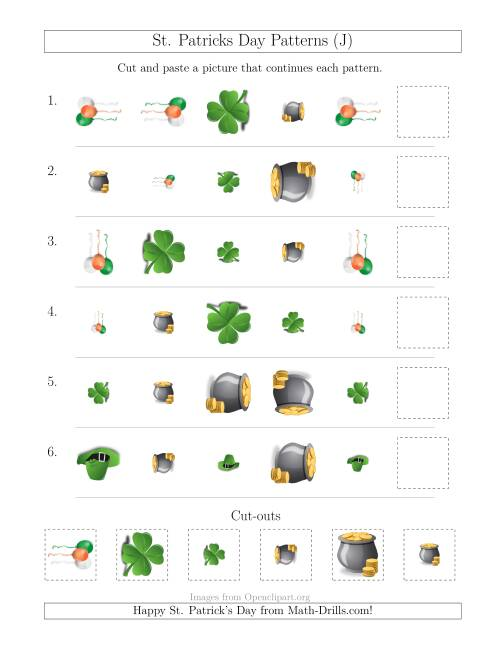 The St. Patrick's Day Picture Patterns with Shape, Size and Rotation Attributes (J) Math Worksheet