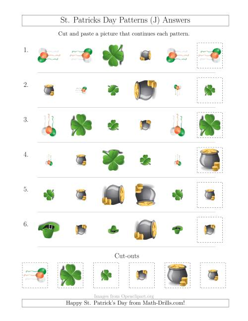 The St. Patrick's Day Picture Patterns with Shape, Size and Rotation Attributes (J) Math Worksheet Page 2