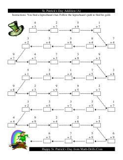 St. Patrick's Day Follow the Leprechaun One-Digit Addition (A)