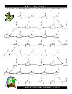 St. Patrick's Day Follow the Leprechaun One-Digit Addition (E)