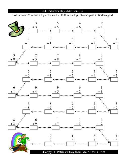 The St. Patrick's Day Follow the Leprechaun One-Digit Addition (E)