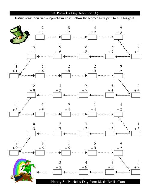 The St. Patrick's Day Follow the Leprechaun One-Digit Addition (F) St. Patrick's Day Math Worksheet