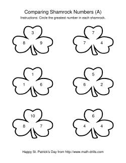St. Patrick's Day Comparing Numbers to 10 in Shamrocks (A)