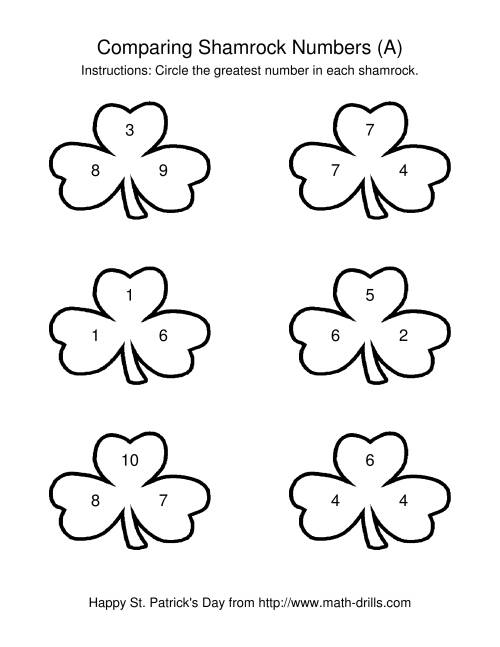 The St. Patrick's Day Comparing Numbers to 10 in Shamrocks (A) Math Worksheet