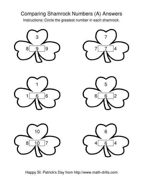 The St. Patrick's Day Comparing Numbers to 10 in Shamrocks (A) Math Worksheet Page 2