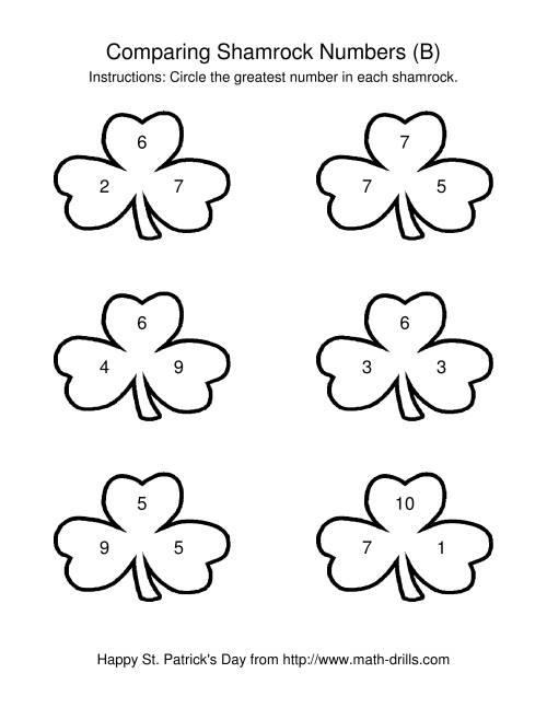The St. Patrick's Day Comparing Numbers to 10 in Shamrocks (B) St. Patrick's Day Math Worksheet