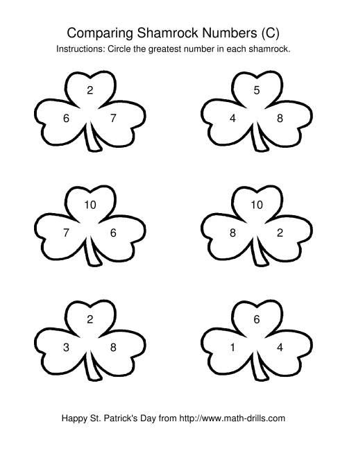 The St. Patrick's Day Comparing Numbers to 10 in Shamrocks (C) St. Patrick's Day Math Worksheet
