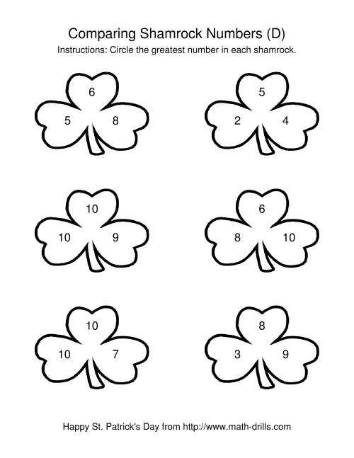 The St. Patrick's Day Comparing Numbers to 10 in Shamrocks (D) St. Patrick's Day Math Worksheet
