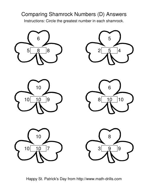 The St. Patrick's Day Comparing Numbers to 10 in Shamrocks (D) Math Worksheet Page 2