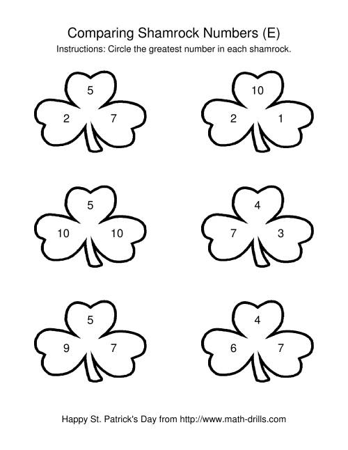 The St. Patrick's Day Comparing Numbers to 10 in Shamrocks (E) St. Patrick's Day Math Worksheet