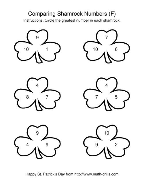 The St. Patrick's Day Comparing Numbers to 10 in Shamrocks (F) St. Patrick's Day Math Worksheet
