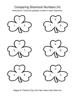 St. Patrick's Day Comparing Numbers to 10 in Shamrocks (H)