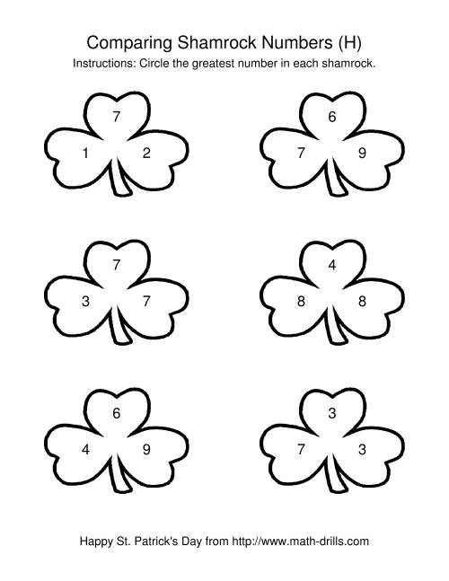 The St. Patrick's Day Comparing Numbers to 10 in Shamrocks (H) St. Patrick's Day Math Worksheet