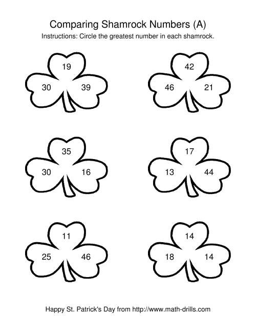 The St. Patrick's Day Comparing Numbers to 50 in Shamrocks (A) Math Worksheet