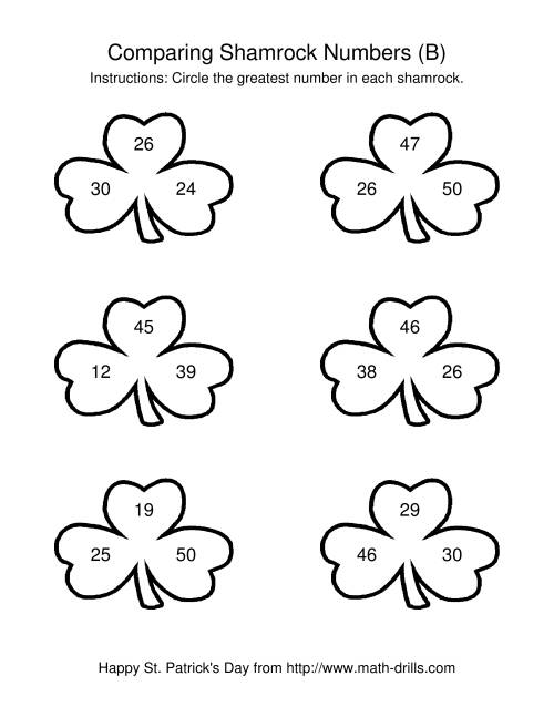 The St. Patrick's Day Comparing Numbers to 50 in Shamrocks (B) St. Patrick's Day Math Worksheet