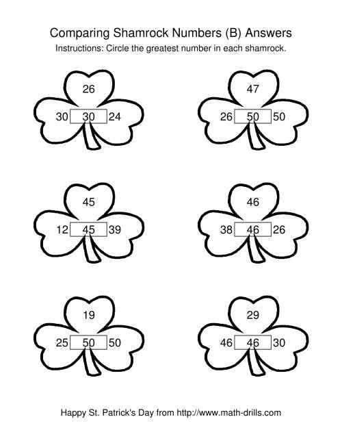 The St. Patrick's Day Comparing Numbers to 50 in Shamrocks (B) Math Worksheet Page 2