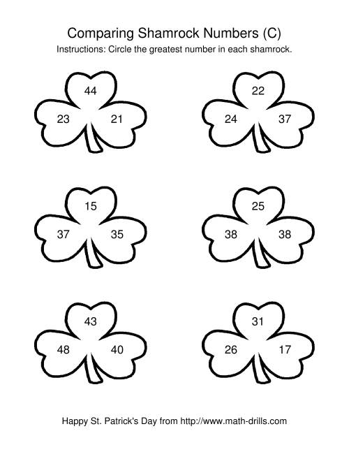 The St. Patrick's Day Comparing Numbers to 50 in Shamrocks (C) Math Worksheet