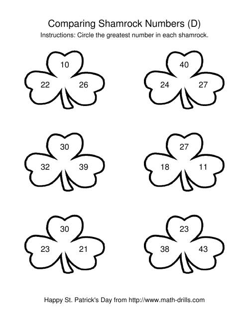 The St. Patrick's Day Comparing Numbers to 50 in Shamrocks (D) St. Patrick's Day Math Worksheet