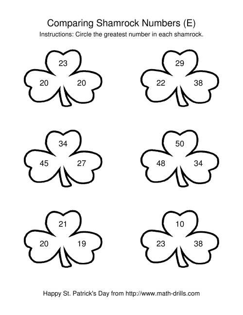 The St. Patrick's Day Comparing Numbers to 50 in Shamrocks (E) St. Patrick's Day Math Worksheet