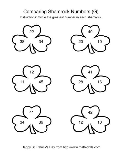 The St. Patrick's Day Comparing Numbers to 50 in Shamrocks (G) St. Patrick's Day Math Worksheet
