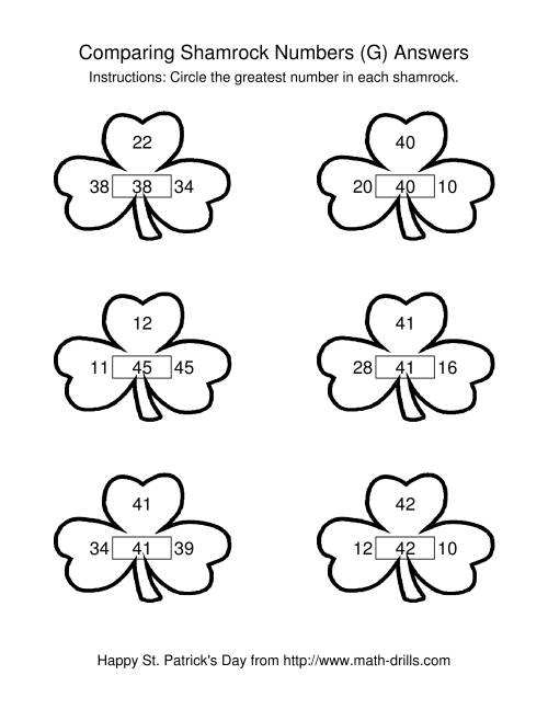 The St. Patrick's Day Comparing Numbers to 50 in Shamrocks (G) Math Worksheet Page 2