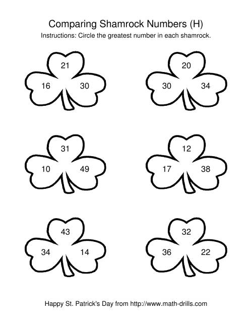 The St. Patrick's Day Comparing Numbers to 50 in Shamrocks (H) Math Worksheet