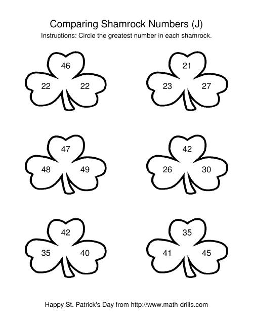 The St. Patrick's Day Comparing Numbers to 50 in Shamrocks (J) St. Patrick's Day Math Worksheet