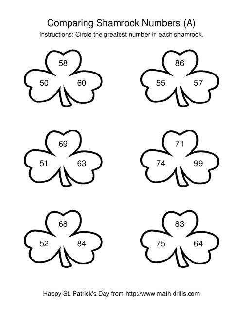 The St. Patrick's Day Comparing Numbers to 100 in Shamrocks (A) Math Worksheet