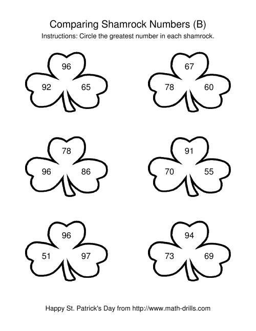 The St. Patrick's Day Comparing Numbers to 100 in Shamrocks (B) St. Patrick's Day Math Worksheet