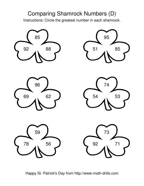The St. Patrick's Day Comparing Numbers to 100 in Shamrocks (D) St. Patrick's Day Math Worksheet
