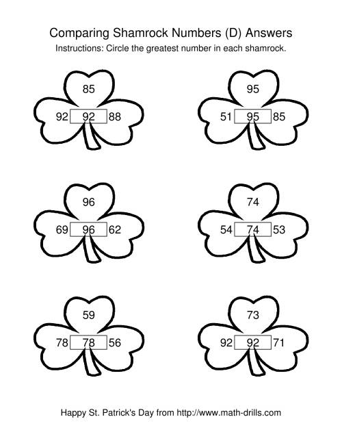 The St. Patrick's Day Comparing Numbers to 100 in Shamrocks (D) Math Worksheet Page 2