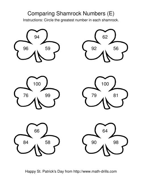 The St. Patrick's Day Comparing Numbers to 100 in Shamrocks (E) St. Patrick's Day Math Worksheet