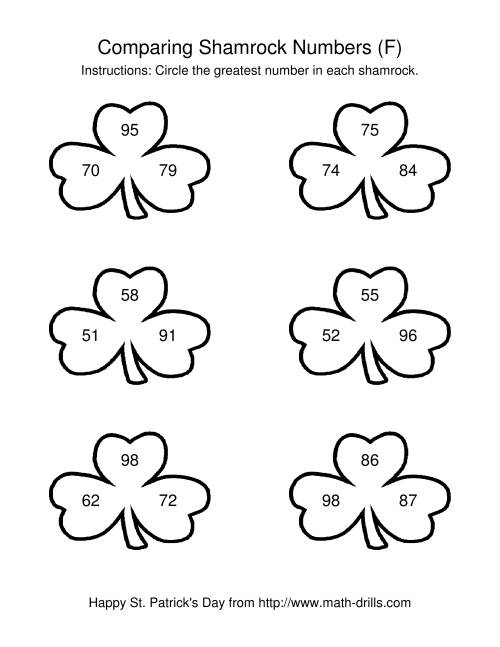 The St. Patrick's Day Comparing Numbers to 100 in Shamrocks (F) St. Patrick's Day Math Worksheet