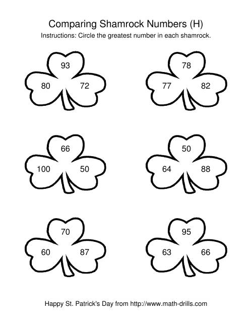 The St. Patrick's Day Comparing Numbers to 100 in Shamrocks (H) Math Worksheet