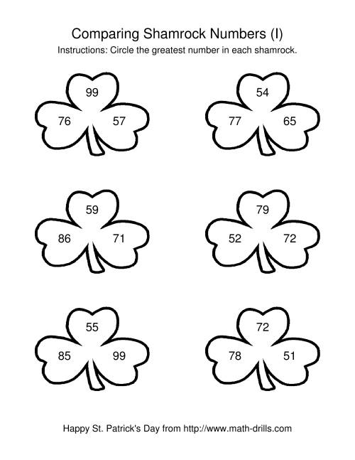 The St. Patrick's Day Comparing Numbers to 100 in Shamrocks (I) Math Worksheet