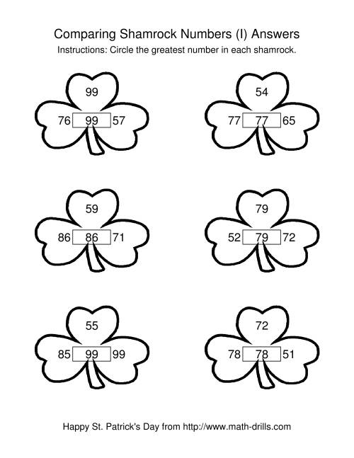 The St. Patrick's Day Comparing Numbers to 100 in Shamrocks (I) Math Worksheet Page 2