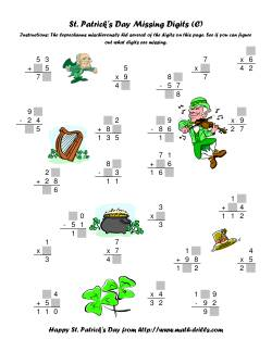 St. Patrick's Day Mixed Operations with Missing Digits (C)