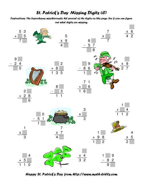 The St. Patrick's Day Mixed Operations with Missing Digits (C) St. Patrick's Day Math Worksheet