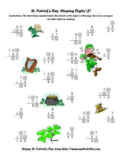 St. Patrick's Day Mixed Operations with Missing Digits (J)
