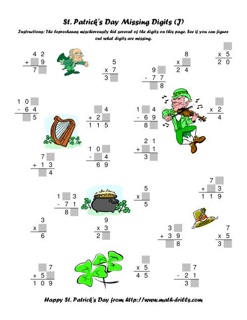 The St. Patrick's Day Mixed Operations with Missing Digits (J) Math Worksheet