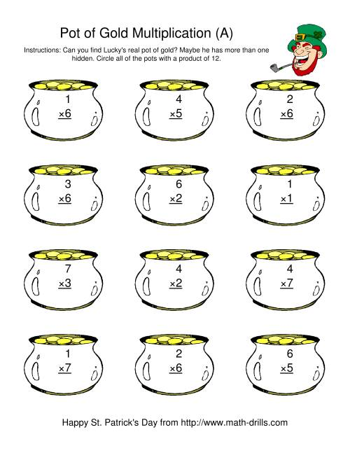 The St. Patrick's Day Multiplication Facts to 49 -- Lucky's Pot of Gold (A) St. Patrick's Day Math Worksheet