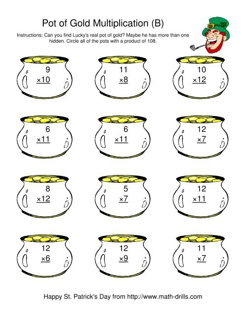 The St. Patrick's Day Multiplication Facts to 144 -- Lucky's Pot of Gold (B) St. Patrick's Day Math Worksheet