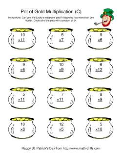 St. Patrick's Day Multiplication Facts to 144 -- Lucky's Pot of Gold (C)