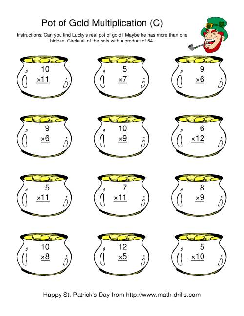 The St. Patrick's Day Multiplication Facts to 144 -- Lucky's Pot of Gold (C) St. Patrick's Day Math Worksheet