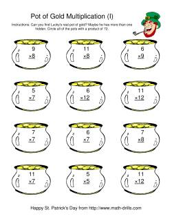 St. Patrick's Day Multiplication Facts to 144 -- Lucky's Pot of Gold (I)