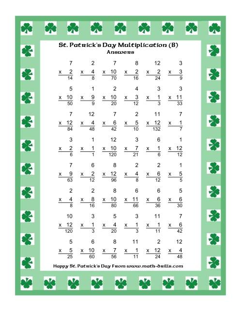 The St. Patrick's Day Multiplication Facts to 144 -- Shamrock Border Theme (B) Math Worksheet Page 2